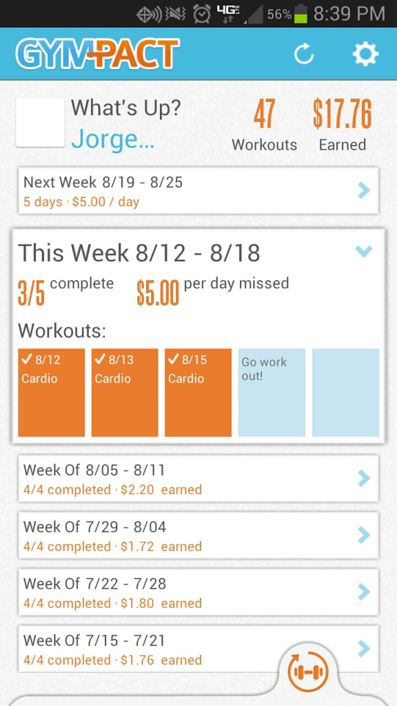 Gympact Status