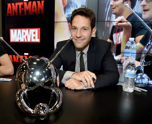 "SAN DIEGO, CA - JULY 26:  Actor Paul Rudd attends Marvel's ""Ant-Man"" Hall H Panel Booth Signing during Comic-Con International 2014 at San Diego Convention Center on July 26, 2014 in San Diego, California.  (Photo by Alberto E. Rodriguez/Getty Images for Disney)"
